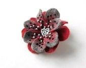 Felted Brooch Polka dot Flower Felt Pin Handmade OOAK Fiber Art White Red Black Gift for her