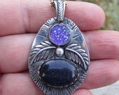 Native American Inspired Blue Goldstone and Druzy Sterling Silver Pendant