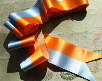 "1 yard vintage rayon satin ribbon 1930s fabulous stripe orange peach blue 2.5"" badge making  flapper cocardes trim very intricate pattern"