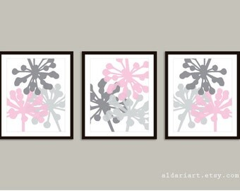 Flower Buds Art Prints - Set of 3 prints - Pink and Gray - Modern Girl Nursery Wall Art - Modern Flowers  Wall Art - Aldari Art