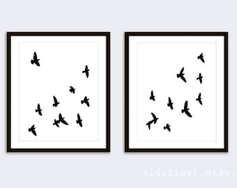Birds Prints - Birds Wall Art - Modern Decor - Minimalist Decor - Black and White Bird Art - Aldari Art