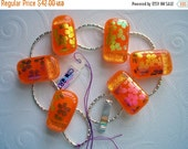 SALE BOX Bold Orange Dichroic Glass Bracelet Chunky Bracelet Dichroic Glass Jewelry Fused Dichroic Glass Chunky Jewelry Fused Glass Bracelet