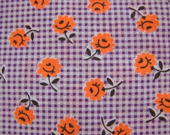 Vintage Fabric 1930s Orange Roses on Purple Gingham Fabric Cotton Fabric by the yard 43 inch wide