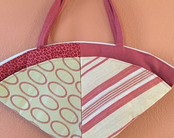 Lu Lu 1337  Fan Shaped Shoulder Bag, Shoulder Purse, Handbag, Purse, Zippered Purse, Up Cycled Fabric, Bag, Bags, Purse, Purses, Handbags