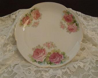 """Vintage 8 1/2"""" J & C Bavaria """"Louise"""" Pink Rose Porcelain Plate"""