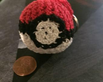 Crocheted Pokeball Keychain
