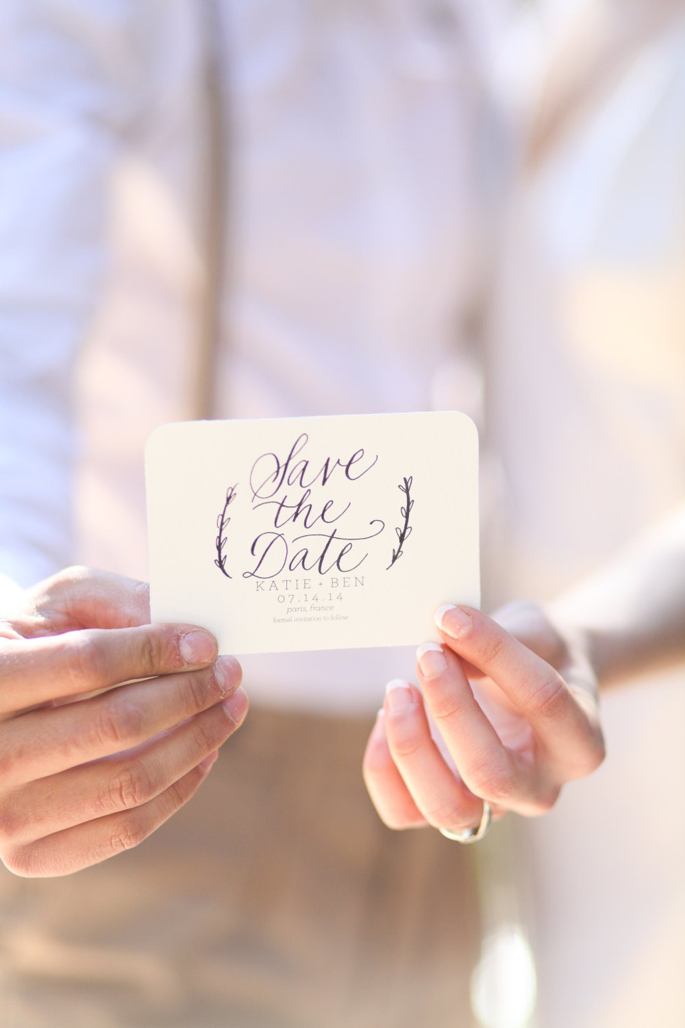 Custom Calligraphy Save The Date Stamp 3 X 2 5 For Wedding