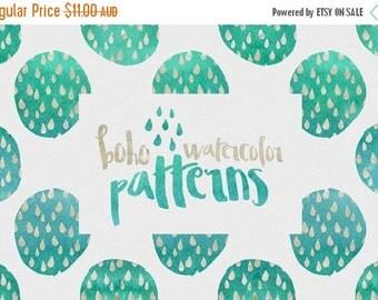 60% OFF SALE 70 Percent OFF Digital paper, Boho Watercolor Patterns - 16 digital pattern backgrounds