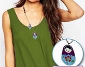 Handpainted Purple Matryoshka Necklace