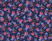 Navy Periwinkle and Pink Cotton Fabric, Les Fleurs by Rifle Paper Co for Cotton and Steel, Rosa in Navy, 1 Yard
