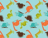 Teal Orange Green and Brown Dinosaur Flannel by Riley Blake Designers, 1 Yard