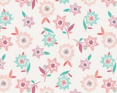 Teal Magenta and Coral Floral Jersey Knit, Coastline by Sharon Holland for Art Gallery Fabrics, Sparkler in Celebrate, 1 Yard Jersey Knit