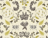 Cream Green and Black Butterfly and Bugs Fabric, Forest Floor by Bonnie Christine for Art Gallery Fabrics, Nature Study in Bark, 1 Yard