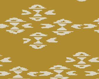 Mustard and Cream Geometric Diamond Jersey Knit Fabric, Observer by April Rhodes for Art Gallery Fabrics, Overshot in Gold, 1 Yard