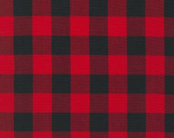 Scarlet Red and Black Plaid Checked Gingham, Robert Kaufman Carolina Gingham, 1 Yard