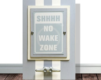 Pale Blue Framed Nautical Nursery Print Shhhh No Wake Zone with Boat Cleat