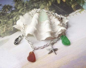 Sea Glass Ankle Bracelet - Lake Erie Ankle Bracelet - Lake Erie Beach Glass - Charm Bracelet - FREE Shipping inside the United States