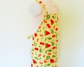 Childrens Apron - Mellow Yellow with Colorful Fresh Fruit tossed all over this Adorable kids Apron, sweet cooking or arts and crafts apron