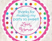 Personalized Birthday Stickers - Colorful Polkadots - Birthday Party Decorations - Set of 24