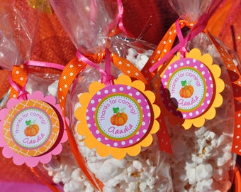 Pumpkin 1st Birthday Favor Tags, Thank You Tags, Girls Pumpkin Patch Birthday Party Favors, Halloween Birthday Party Decorations - Set of 12
