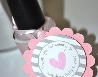 Girls Baby Shower Favor Tags - Pink and Gray - Thank You Tags - Baby Shower, Bridal Shower - Heart and Stripe - Set of 12