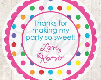 Personalized Birthday Stickers, Thank You Favors, Birthday Stickers, Rainbow Party, Colorful Polkadots Birthday Decorations - Set of 24