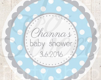 Boys Baby Shower Favor Sticker Labels - Blue and Gray Polkadot - Personalized Baby Shower Favors - Baby Shower Decorations - Set of 24