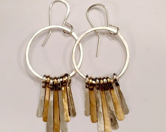 Fringe Earrings in gold and silver