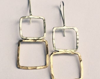 Square earrings in Silver and Gold