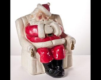 Santa Claus 1940's Vintage Chalkware Piggy Bank Saint Nick Sleeping in Armchair