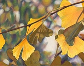 Giclee Print of Original Watercolor Painting, art, archival, gingko tree, leaves, autumn, fall, yellow, wall art, home decor, unframed, gift