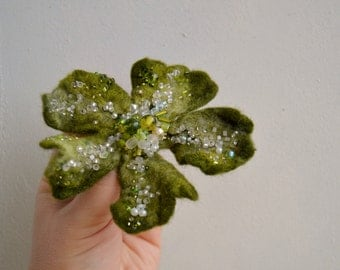 Felt Brooch Pin Green Wool Flower Embroidered with White Beads, Corsage Pin,Wet Felted Wool Flower Free Shipping, green Christmas pin
