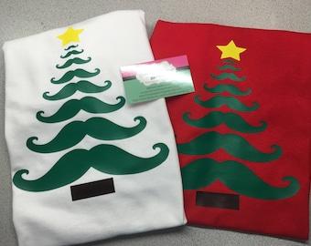 Boys Christmas Shirt, Mustache Christmas Tree Shirt, Mustache Tree Shirt, Christmas Shirt for Boys