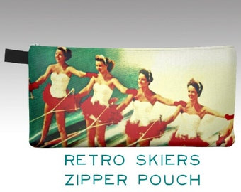 Zipper Pouch, Zipper Pencil Case, Cosmetic Bag, Mid Century Art, Cosmetic Case, Pencil Pouch, Retro Water Ski Art Gifts for Her Aqua Red