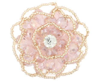 Light Gold and Pink Beads Flower Button.  2 inch