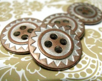 Metal Buttons - Tribal ZIG-ZAG Metal Buttons , Copper Silver Color , 4 Holes , 0.79 inch, 10 pcs