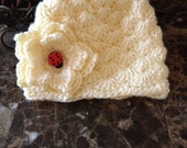 Baby girls crochet hat, winter hat for baby girl, newborn beanie with a flower