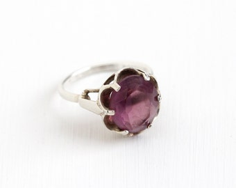 Sale - Vintage Simulated Amethyst Ring - Sterling Silver Adjustable Purple Glass Stone February Birthstone Sarah Coventry Statement Jewelry