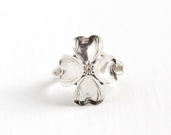 Vintage Sterling Silver Dogwood Flower Ring - Retro 1960s Adjustable Floral Nature Inspired Dog Wood Statement Jewelry