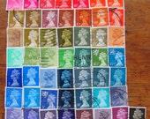 Royal Rainbow 50 Vintage Great Britain Postage Stamps Lovely Ladies of Luxury Queen Elizabeth II British UK Queen Mum Worldwide GB Philately
