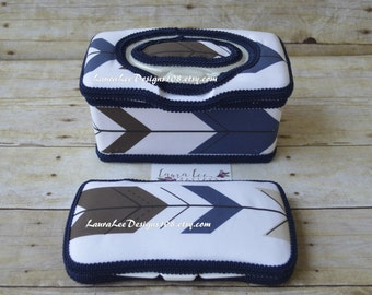 Set of 2, Large Nursery Wipe Case and Travel Baby Wipe Case, Navy and Brown Arrow, Triangle, Large Wipe and Travel Case, Baby Shower Gift