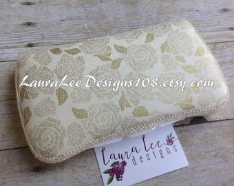 Metallic Gold Roses on Cream, Travel Wipe Case, Baby Wipe Case, Personalized Wipe Case, Diaper Wipe Case, Baby Shower Gift, Wipe Holder