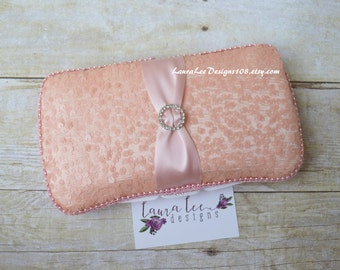 Light Blush Pink Sequin Travel Baby Wipe Case, LLD EXCLUSIVE Sequin Line, Diaper Wipe Case, Baby Wipe Holder, Bling Case, Baby Shower Gift