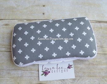 Gray with White Remix Crosses, Plus Signs, Travel Baby Wipe Case, Personalized Wipe Case, Diaper Wipe Case, Baby Shower Gift, Wipe Holder