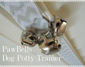 Grey Chevron Dog Training Bells, Paw Bells, Dog Potty Trainer, Instructions included