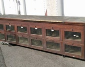 Antique Retail Store Counter with Glass Doors / Vintage Distressed Store Counter / Storage Organization / Glass Door Oak Cabinet