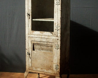 Vintage Antique Metal Medical Cabinet on Legs / Beautiful Heavily Distressed Paint and Rust / 2 Door Medical Cabinet with Glass / RESERVED