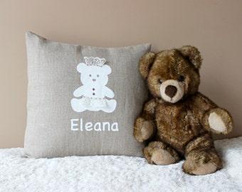 Personalized  Baby Girl Pillow  New Born Linen Cushion 16 x 16 Baby Pillow Teddybear Pillow Linen Princess Pillow