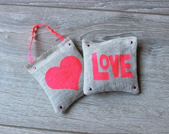 Set of 2 Lavender Sachets Hand Painted French Lavender Pillows Fluorescent Pink Love Lavender Pillows