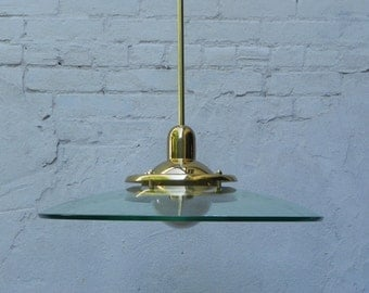 Large Modern Brass Glass Disk Hanging Pendant Lamp